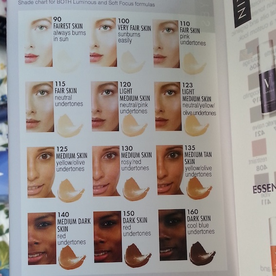 Vapour Organic Beauty - foundation colour chart