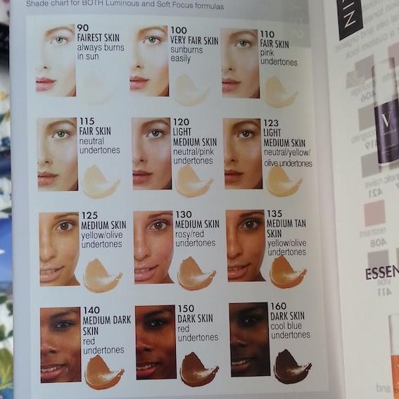 Vapour Organic Beauty - foundation colour chart