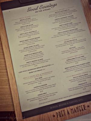 Pret Good Evening food menu