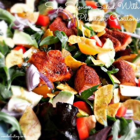 Salmon suya salad with plantain croutons