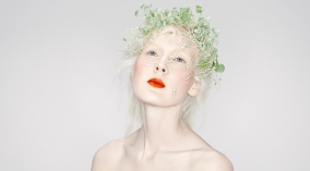 Rituel de Fille Bloodroot Enchanted Lip Sheer worn with Delirium Inner Glow Cream Blush