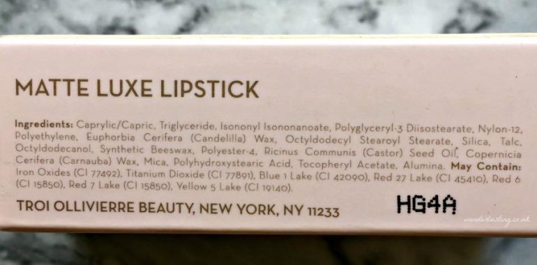 Troi Ollivierre lipstick ingredients