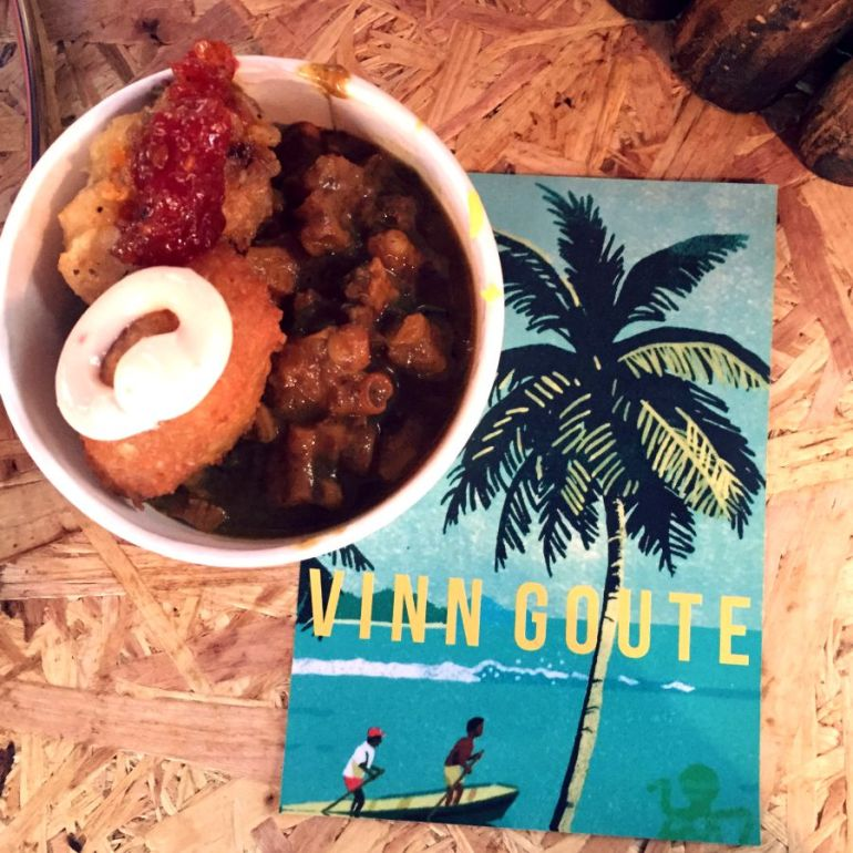Vinn Goute octopus curry with lentil ball and snapper bite