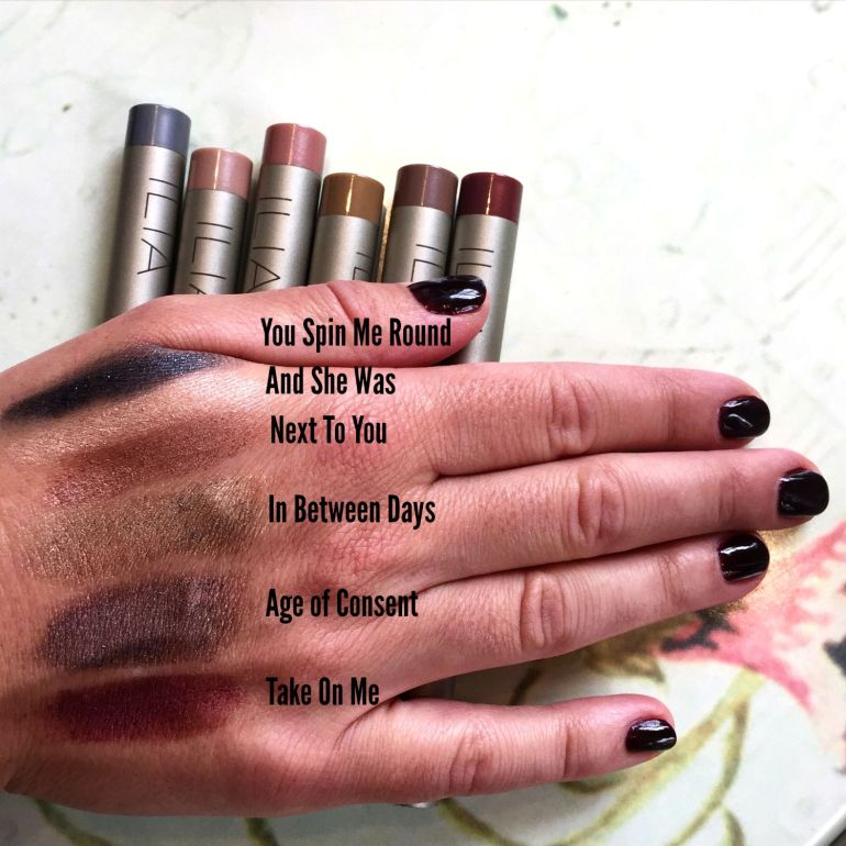 ILIA eyeshadow stick swatches