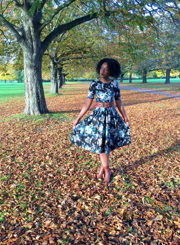 Closet New Look Midi Black Floral Dress