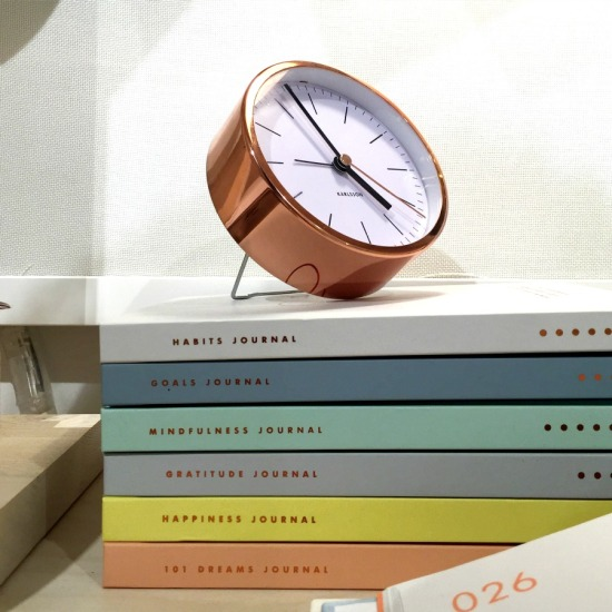 Kikki K copper clock and journals