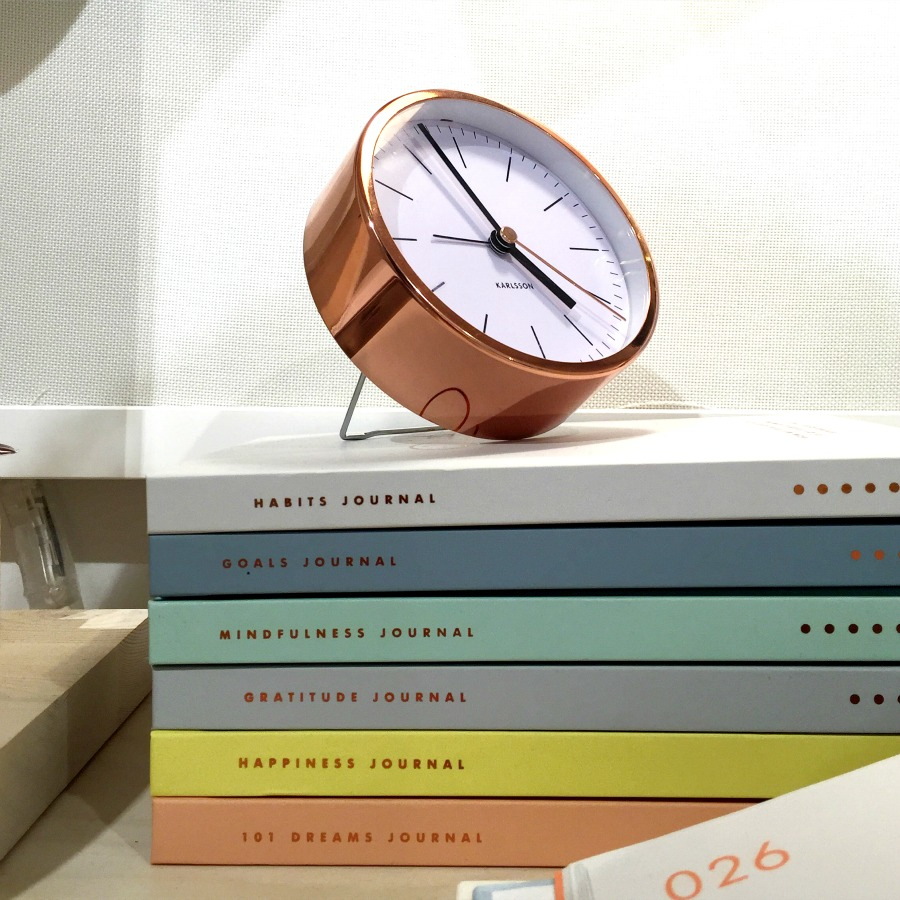Kikki K copper clock and journals