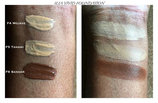 ILIA VIVID foundation swatches on dark skin
