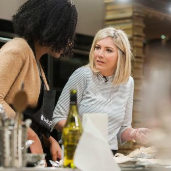 Getting cookery tips from Lisa Faulkner