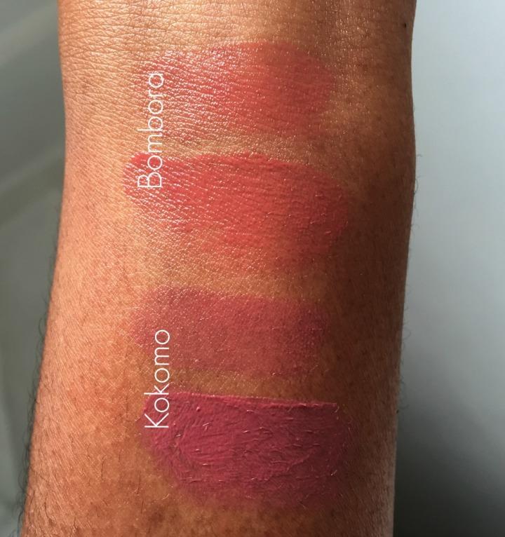ILIA Bombora and Kokoma Tinted Lip Condition swatched