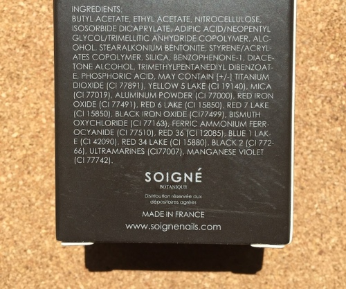 Soigné nail polish ingredients