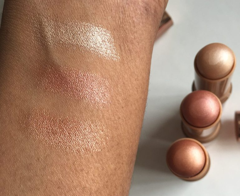 Nude by Nature Touch of Glow Highlight stick swatches