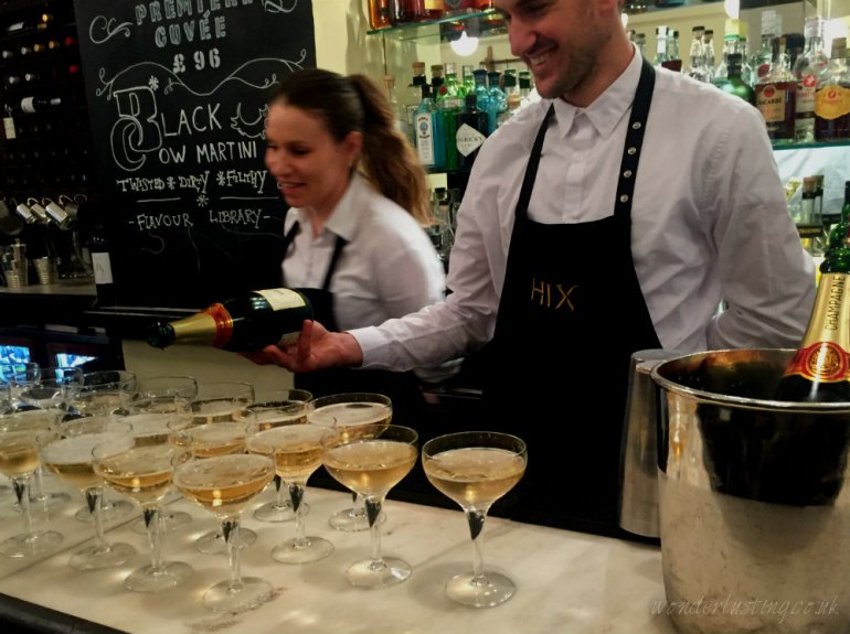 Champagne at Hix Oyster & Chop House