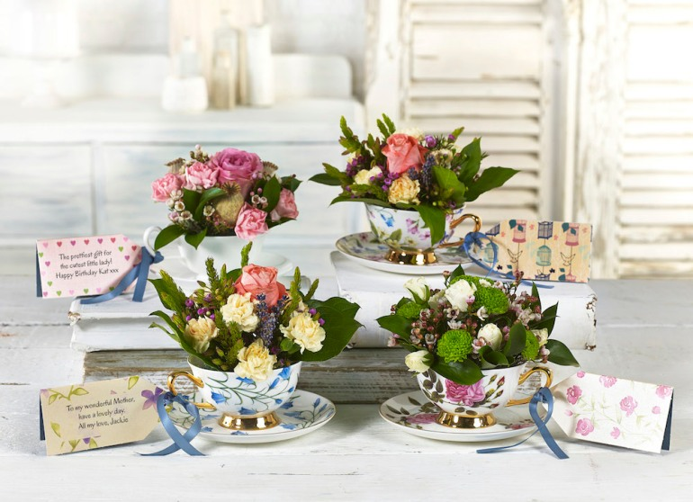 flowercards in a teacup