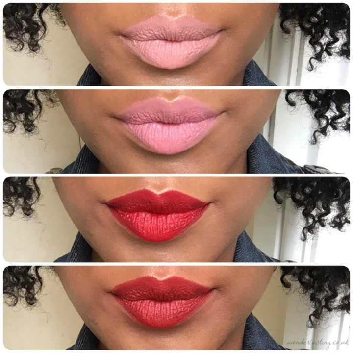 Zelens Extreme Velvet Lipstick Swatches - on dark skin