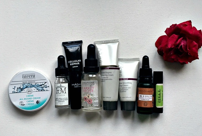 green beauty empties - lavers, fom, madara, seraphine, trilogy, herbfarmacy, rlinden