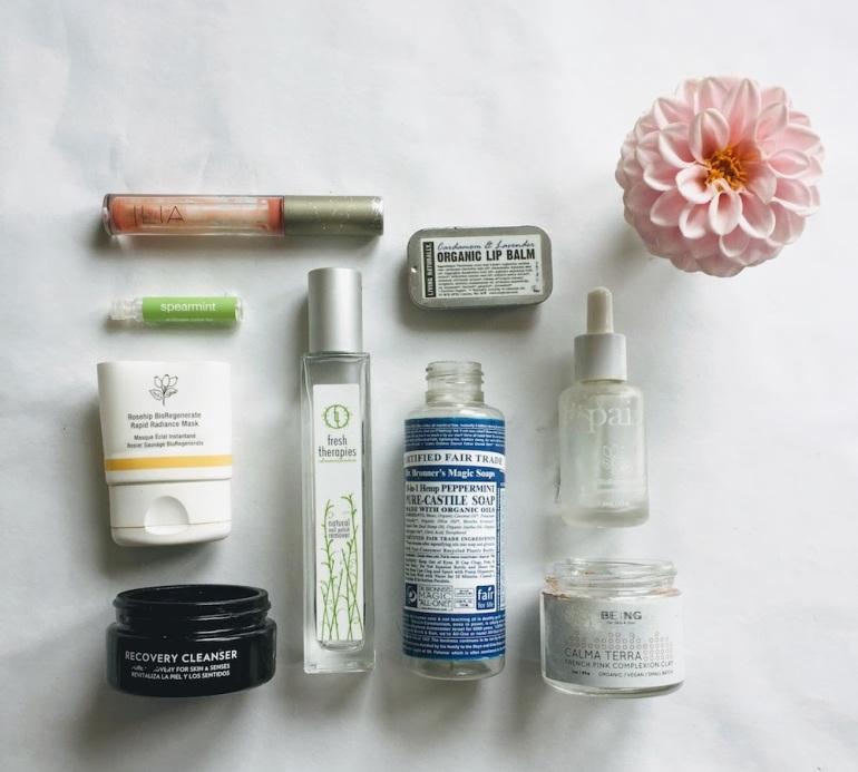green beauty empties - marry pai, dafna's, balm balm, ilia, fresh therapies, dr bonner's, naturally living