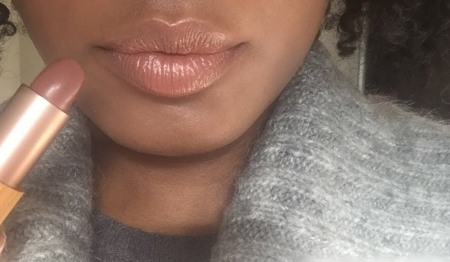Neek mystify vegan lipstick swatch on dark skin