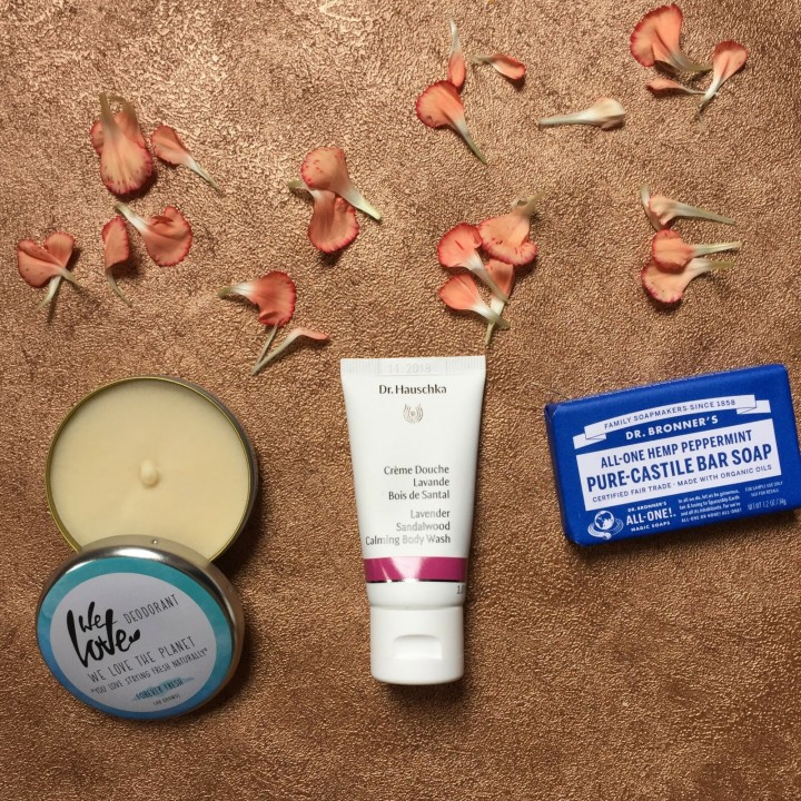 We Love The Planet deodorant, Dr Hauschka shower gel, Dr Bronner's