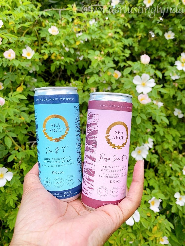 Sea & T ready mixed cans of Sea Arch non alcoholic gin alternative in hand